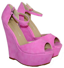 LADIES 6 INCH ANKLE BUCKLE STRAPPED SUMMER/BEACH/CASUAL WEDGES LT PURPLE SUEDE 8