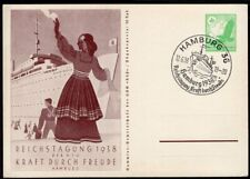 GERMANY PS STATIONERY POSTAL CARD 1938 SPECIAL CANCEL SHIP PAQUEBOT