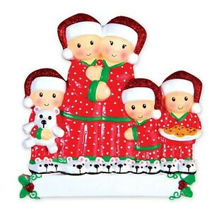 Pajama Family of 5 Christmas Ornament - 3 Kids - Gift for Child MW60026