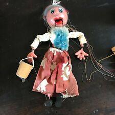 Vintage Pelham Wilts Woman With Pail Marionette String Puppet , NO box