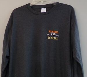 Philadelphia Flyers 50 YEARS Embroidered Long Sleeve T-Shirt S-6XL, LT-4XLT New