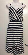 Vince Camuto Navy Blue White Stripe Knit Dress Size S