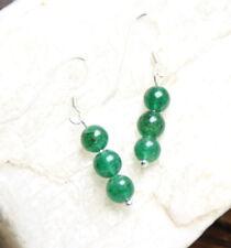 Aventurine Green 6mm Ball Natural Gemstone Earrings .925 Sterling Silver Hooks