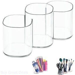 Beauty Supply Storage Makeup Brush Holder Trio Cup Vanity Cabinet Organizer New