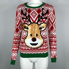 Ugly Christmas Sweater Rudolph Reindeer Reversible Filp Sequin Large 11-13 #R09