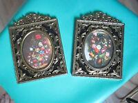 Vintage Home Interiors Ornate Metal Pictures Set of 2 Oval Floral Design