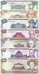 Nicaragua : 7 Pieces Set (10-1000 Cordobas) 1979-1988 UNC