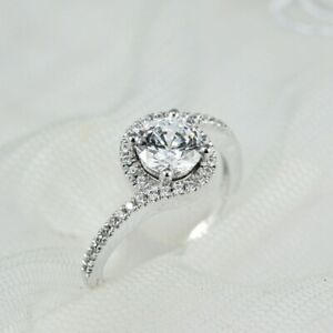 1.48 TCW Round Cut DVVS1 Moissanite Engagement ring in 14K White Gold Plated