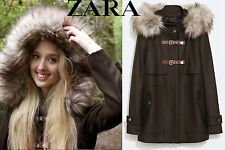 ZARA DUFFLE COAT WITH FUR HOOD WOOL JACKET NEW KHAKI BLOGGERS SIZE SMALL S NEW