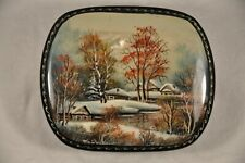 BOITE TABATIERE VINTAGE LAQUE RUSSE RUSSIAN LACQUER MOTHER OF PEARL SIGNED BOX
