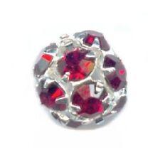 1 Boule perle strass argentée 8 mm boheme - SIAM