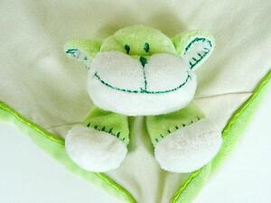 Blankets and Beyond Green White Smiling Monkey Dog Lovey Security Baby Plush