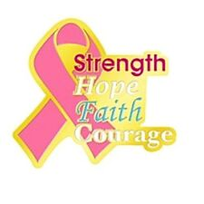 Pink Ribbon Lapel Pin Tac Breast Cancer Awareness Strength Hope Faith Courage