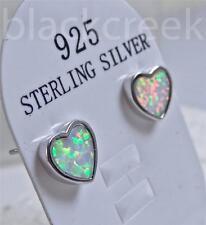 2 ct ~ Lab White Fire Opal ~9x7 Heart ~ 925 Sterling Silver ~ Sturdy  Earrings