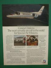 10/1986 PUB CESSNA CESSNA CITATION AIRCRAFT SPECIAL AIR MISSIONS ORIGINAL AD