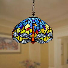 ANTIQUE TIFFANY STYLE STAINED BUTTERFLY GLASS PENDANT LAMP GIFT HOME LIGHTING UK