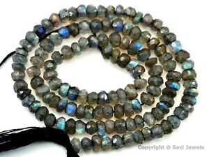 """LABRADORITE 4-4.5mm Micro Faceted Rondelle Beads 14"""" Str-A++ Great Quality"""