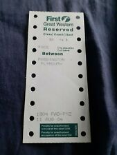 Great Western Trains Seat Reservation Label-Paddington to Plymouth