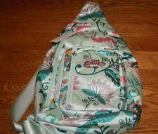 Vera Bradley LIGHTEN UP SLING BACKPACK MINT FLOWERS  24947-N33 New