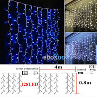 96-300 LED Icicle Hanging Snowing Curtain Fairy String Lights Xmas Party Outdoor