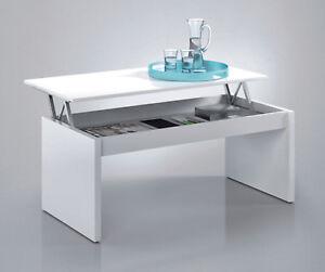 Mesa o mesita de centro elevable para salon o comedor en blanco brillo, 100cm