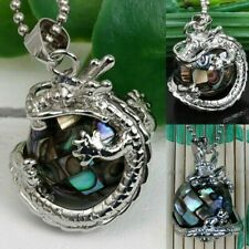 Abalone Shell Dragon Wrap Round Inlaid Ball Bead Pendant For Men Women Necklace