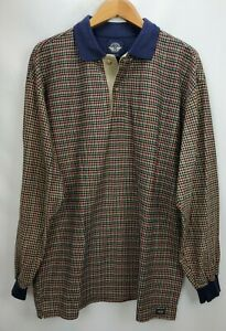 Vintage Levis Dockers Mens Rugby Polo Shirt Large Blue Brown Check Long Sleeve