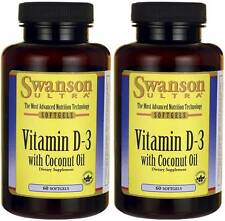 2X Swanson Vitamin D-3 2000 IU with Coconut Oil 120 Sgels + Bonus