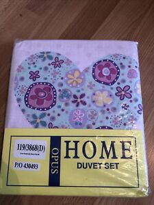 BNIP Girls Single Duvet Set Hearts & Flowers Pink, Spotted On The Reverse