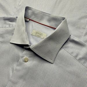 Mint ! 16 ETON Contemporary Light Blue Mini Plaid Spread Collar Cotton Shirt