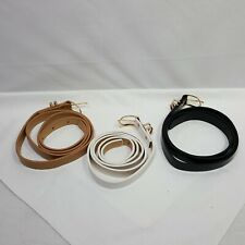 3 Piece Womens PU Leather Skinny Belts Gold Accent Black Tan White 40