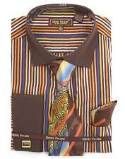 Men's HENRI PICARD French Cuff Dress Shirt Brown  Tie Hanky Cufflinks Set FC149