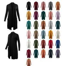 Lightweight Open Front Pocket Long Length Long Sleeve Rayon Spandex Cardigan