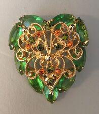 Vintage JULIANA Gold Tone  Green Topaz Filigree BROOCH PIN