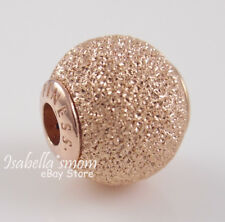 Essence HAPPINESS Authentic PANDORA Rose GOLD Plated GLITTERY Charm/Bead NEW
