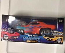 MUSCLE MACHINES '69 CAMARO 1:18 SCALE ORANGE WITH BLUE FLAMES MINT IN BOX