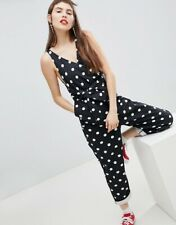 Monki ASOS Black denim jumpsuit playsuit white polka dot medium