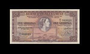 "1957 BRITISH COLONY BERMUDA 5 SHILLINGS QEII 5/- ""V/1"" (( EF ))"