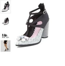 NEW LOOK CATWALK INSPIRED GLITTER & CRYSTAL GEMSTONE STRIPED HEEL SHOES - UK 4