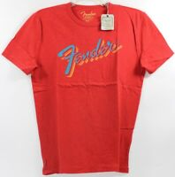 Lucky Brand Fender Guitars 4 Color Retro Logo Red T-Shirt Amps Strings