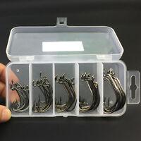 50PCS Worm Hook Jig Big Fishing Hooks Black Fishhook Size 1/0-3/0 Plastic Box JT