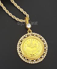 Tugra Kette Gold Münze Halskette 22 Karat Altin Kaplama Osmanli Kolye Taki Gelin