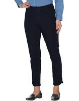 Isaac Mizrahi Live! Regular 24/7 Denim Pull-On Ankle Jeans Dark Indigo Size PL20