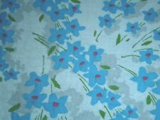 Vtg Cotton Feedsack Fabric Light Blue with Forget Me Not Flowers 35 x 43