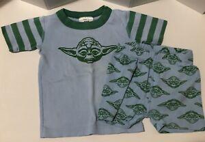 💛 HANNA ANDERSSON 90 3T Star Wars Yoda 2-pc short pajamas 100% organic cotton