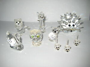 9X Swarovski Figuren Kristall Igel+Schwan+Katze+Eule etc.alle sign. Top Zustand.