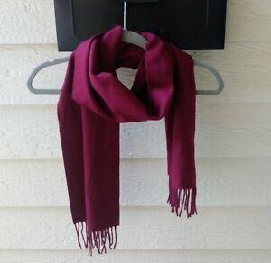 "Stewart of Scotland Burgundy Red 100% Merino Wool Scarf w/fringe 66""x11"" NWT"