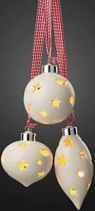 3 LED Kugeln Keramik Weihnachtskugeln beleuchtet Hängedeko Fensterdeko Batterie