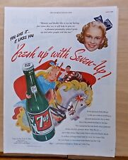 1946 magazine ad for Seven-Up - colorful carousel horses, youngsters love 7Up