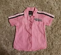 Harley Davidson Youth Girls Size 5 Pink Short Sleeve Embroidered Shirt Top